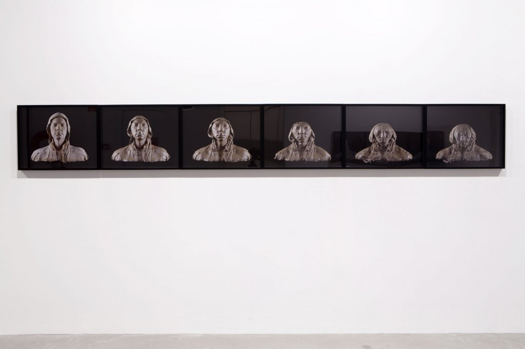 <p>Tim Silver, <em>Untitled (bust) (Selleys Woodfilling Putty)</em>, 2011, archival inks on archival paper, 6 framed prints, 46 x 58 cm each</p>