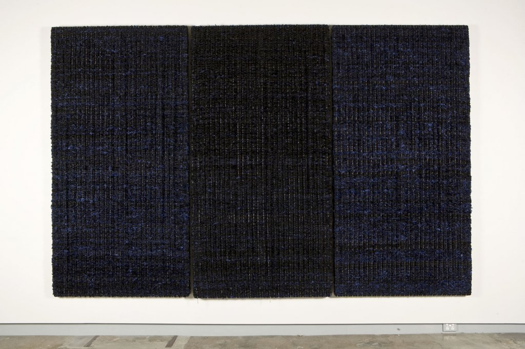 Dani Marti <em>Shadow after shadow (portrait of the artist's mother at the age of 73), take 2</em> 2007 polyester, nylon, knitting yarn and stainless steel ball chains on wood 3 parts, 230 x 118 x 5 cm each, 230 x 355 x 5 cm total