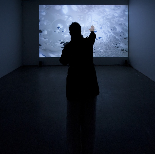 David Haines and Joyce Hinterding <em>Monocline: white cube</em> (installation view)<em> </em>2011 real-time 3D environment utilising the Unreal Engine