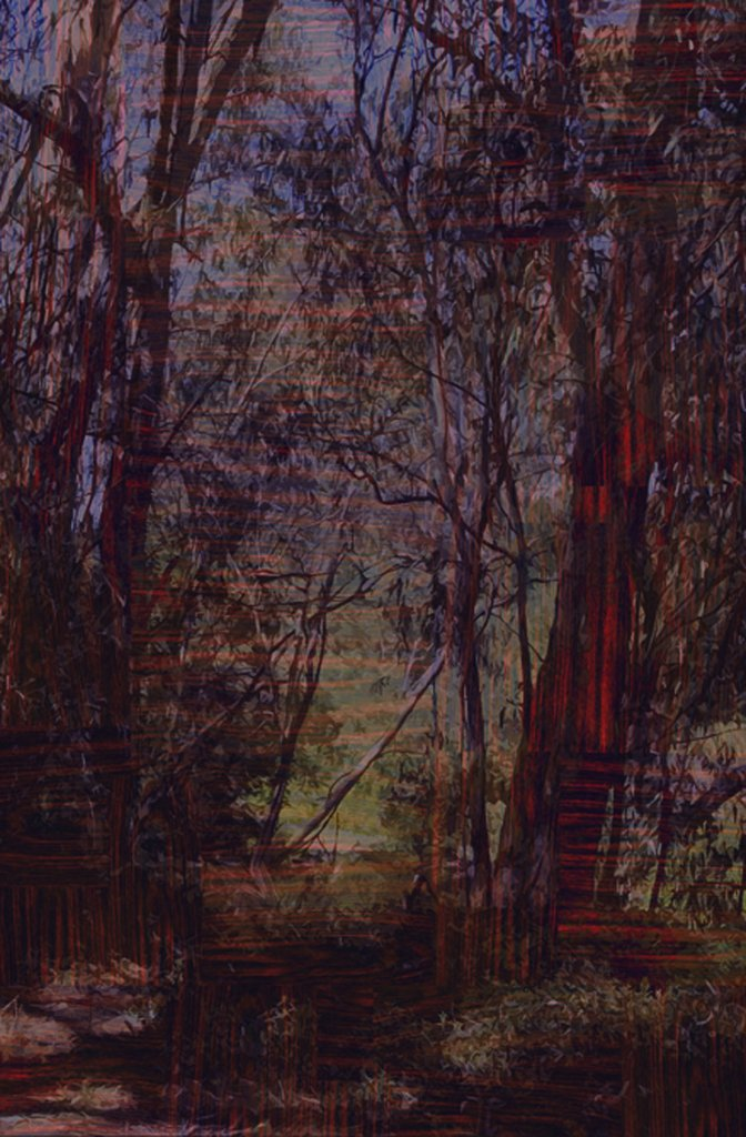 Gary Carsley <em>D.53 Near Heidelberg (Nightfall) Yarra Valley Park</em> 2007  Lambda mono-print mounted on Dibond 123 x 80 cm