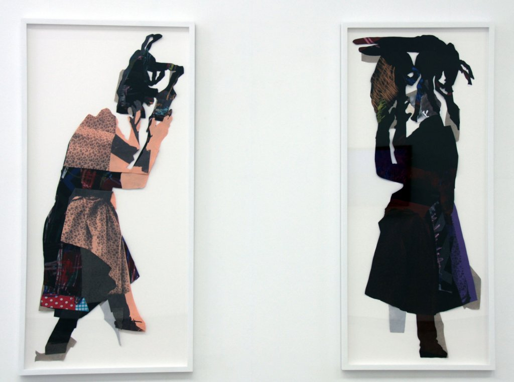 <div>[left] Sally Smart, <em>In Her Nature (Performance #1), </em>2010, synthetic polymer paint and ink on cotton fabric and linen with oil pastel and collage elements, 156 cm x 76 cm</div>
