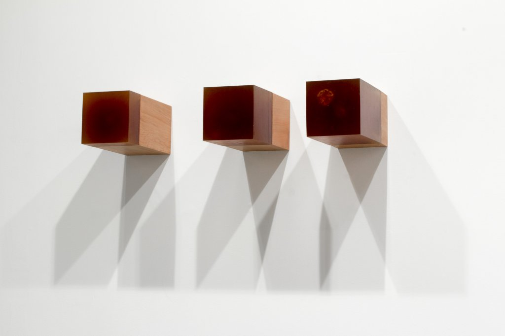 <div>Sarah Smuts-Kennedy, <em>Problem event</em>, 2013, wood (Matai), urethane, 3 parts, each 14.5 x 14.5 x 29 cm</div>