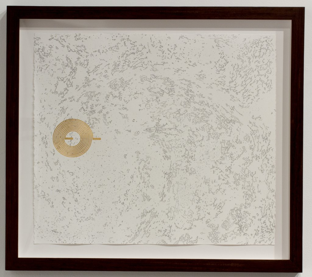 Joyce Hinterding, 'The Diffusion Reactors 2', 2013, electrostatic carbon, oil, gold, ebru, framed, 61 x 69 x 4.5 cm