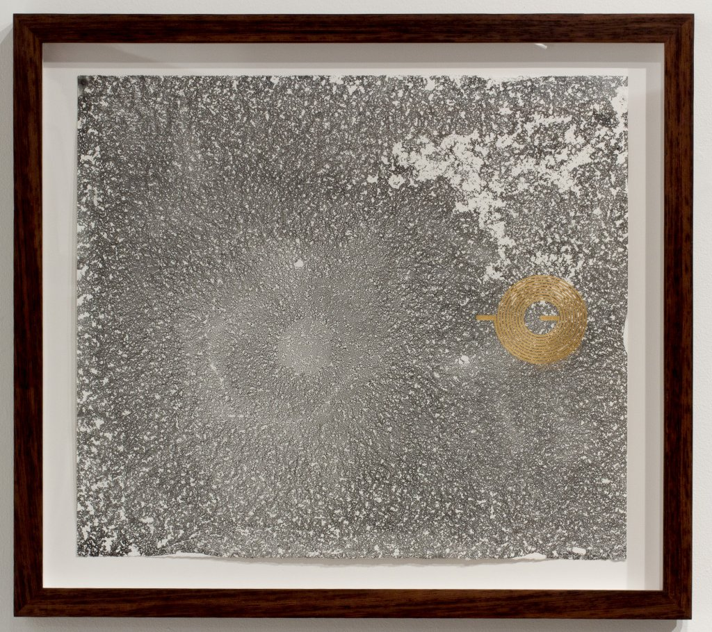 <div>Joyce Hinterding, <em>The Diffusion Reactors 3</em>, 2013, electrostatic carbon, oil, gold, ebru, framed, 61 x 69 x 4.5 cm</div>
