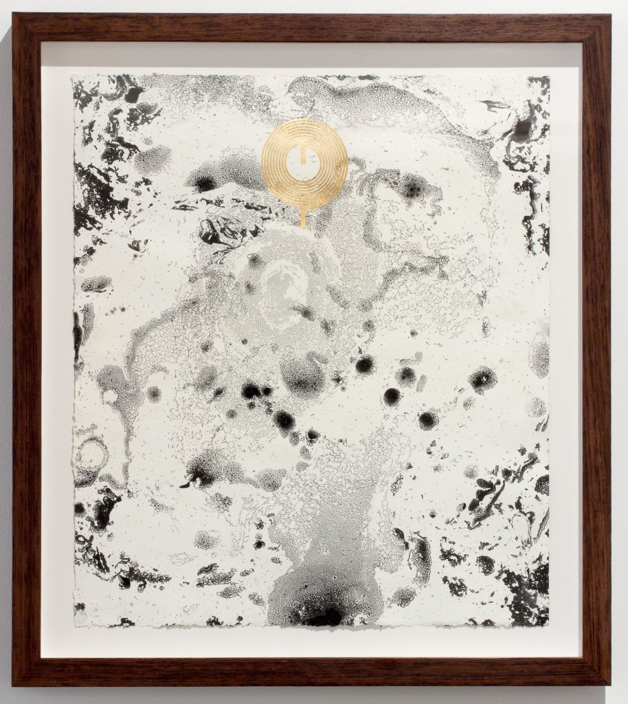 Joyce Hinterding, <em>The Diffusion Reactors 5</em>, 2013, electrostatic carbon, oil, gold, ebru, framed, 69 x 61 x 4.5 cm