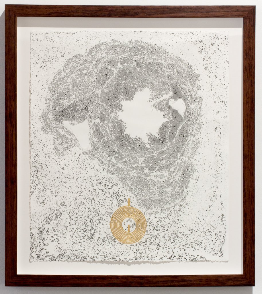 <div>Joyce Hinterding, <em>The Diffusion Reactors 4</em>, 2013, electrostatic carbon, oil, gold, ebru, framed, 69 x 61 x 4.5 cm</div>