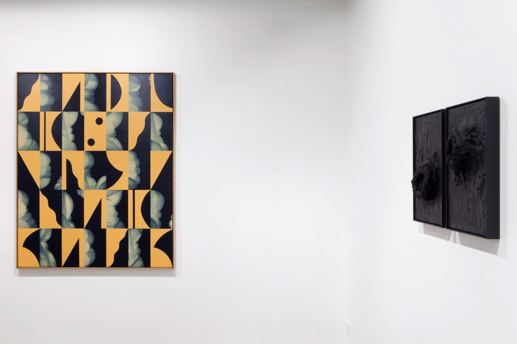 [left] Mitch Cairns, <em> Convent Wall </em> , 2013,   oil on linen, 137 x 167 cm [right]  Tim Silver, <em> Untitled (scar tissue) </em> , 2013,   pigmented polyurethane, 58 x 40 x 12 cm each