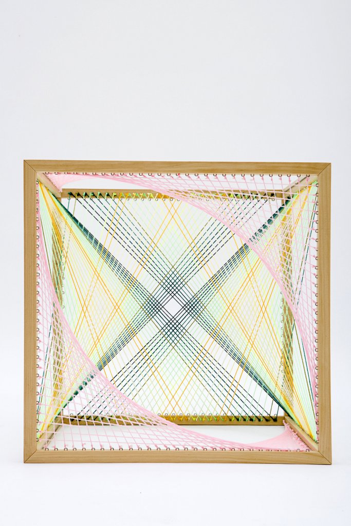 Nike Savvas <em>Sliding Ladder: Cube #1 </em>wood and wool 50 x 50 x 50 cm