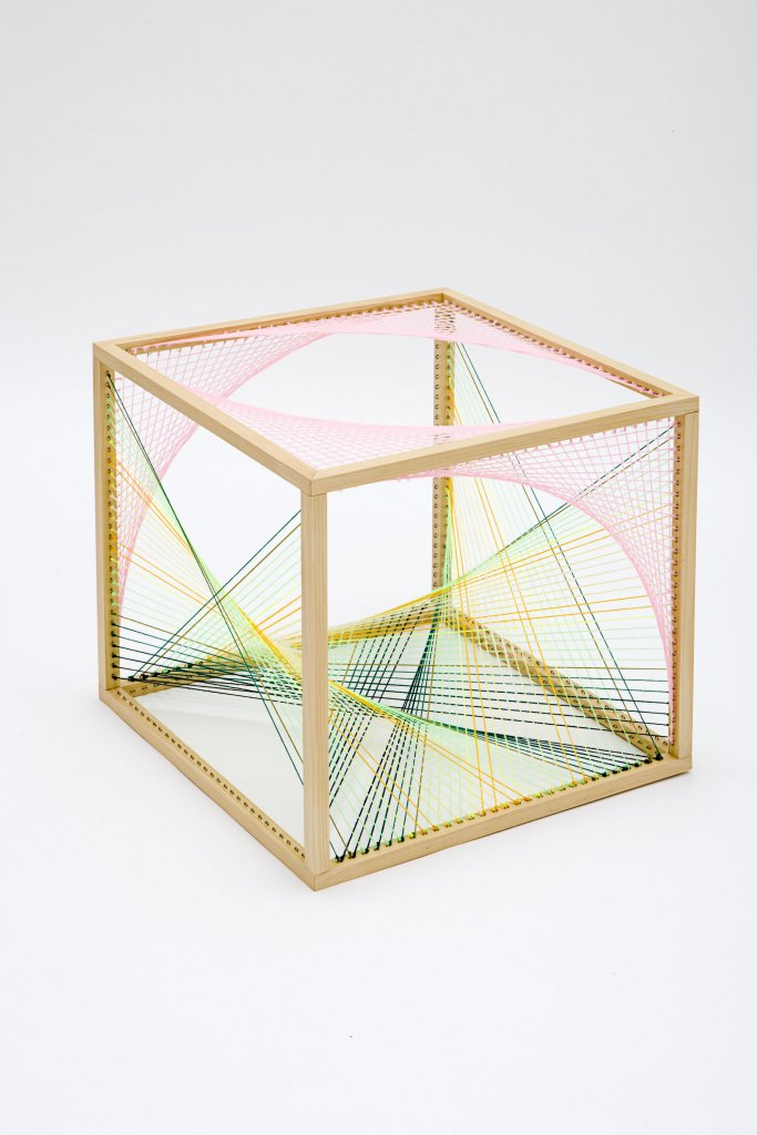 Nike Savvas <em>Sliding Ladder: Cube #1 </em>wood and wool 50 x 50 x 50 cm<em>  </em>
