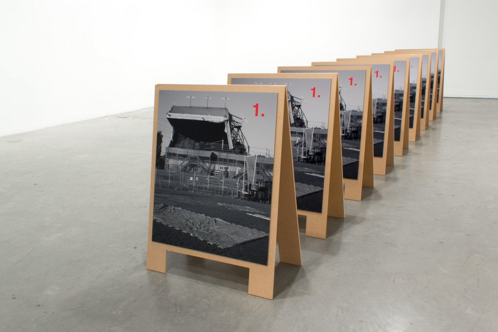<p>Raafat Ishak & Tom Nicholson, <em>Proposition for a banner march and a black hot air balloon</em> (A frames), 2012, 5 of 10 pairs, each consisting of 2 Type C photographs mounted on dibond and MDF, hinges, 82 x 60 x 40 cm</p>