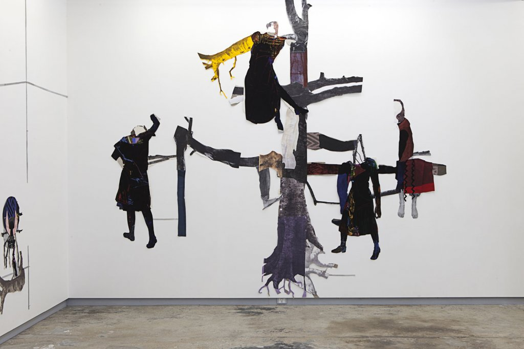 Sally Smart <em>Performativity (UMWELT) Tree (In Her Nature)</em> 2010–11 synthetic polymer paint on canvas and fabric, oil pastel on velvet, paper and other collage elements