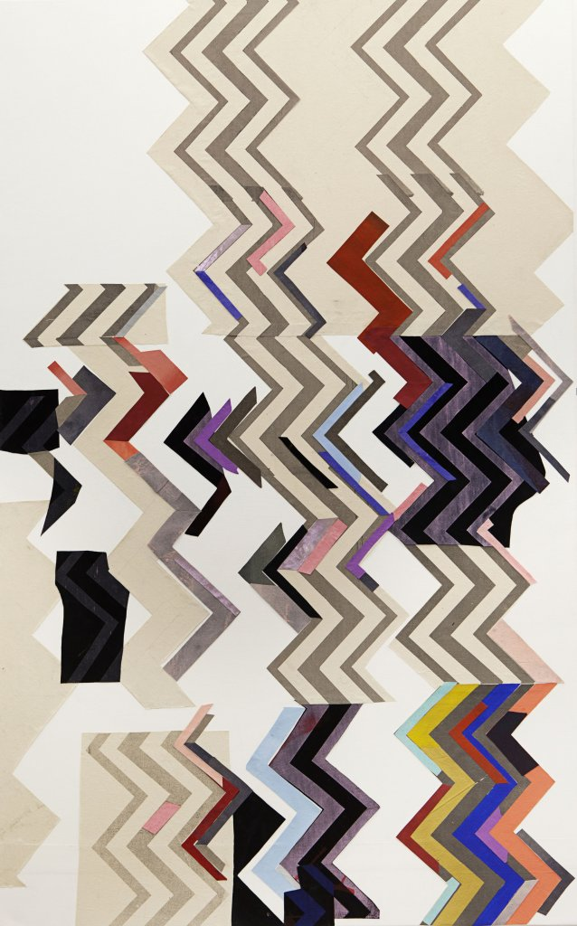 Sally Smart<strong>  </strong><em>Zig-Zag, for Herzog (In Her Nature)</em>  2010–11 synthetic polymer paint on canvas and fabric, oil pastel on velvet, paper and other collage elements
