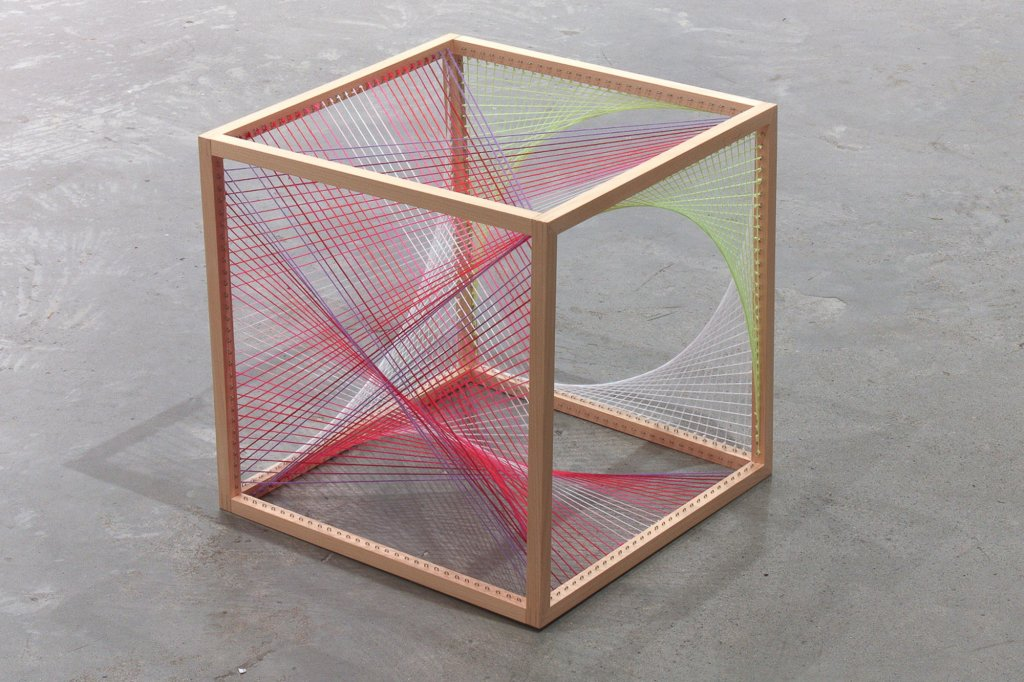 "<p class=""p1"">Nike Savvas, <em>Sliding Ladder: Cube #2</em>, 2010, wool and wood, 50 x 50 x 50 cm</p>"