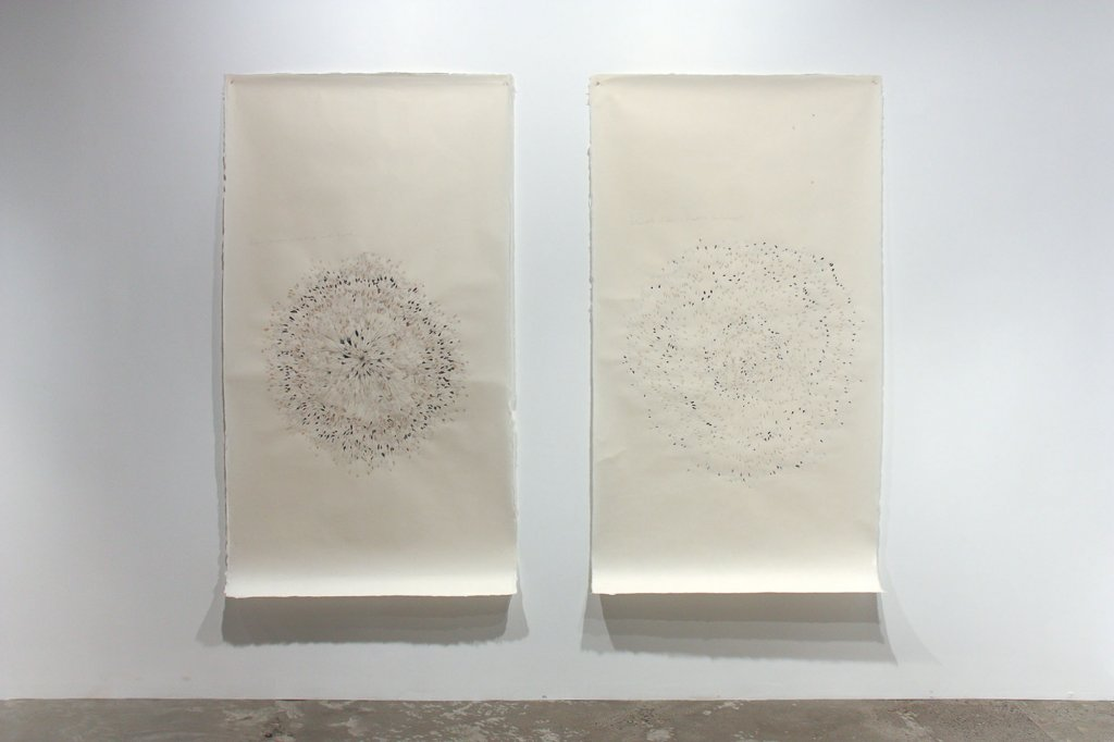 "<p class=""p1"">Simryn Gill, <em>Untitled (Drawing C)</em> and <em>Untitled (Drawing B)</em>, 2011, collage and graphite on paper, 195 x 109 cm each</p>"